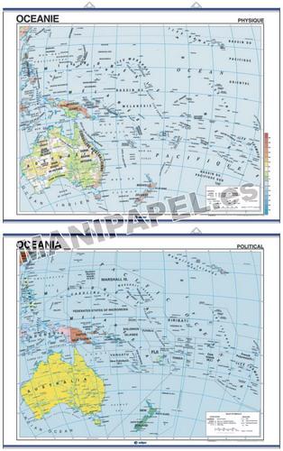 MAPAS MURALES EN INGLÉS FÍSICO / POLÍTICO ED-644 Físico / Político Oceania