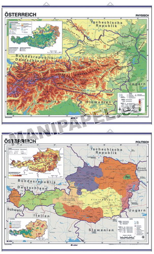MAPAS MURALES EN ALEMÁN FÍSICO / POLÍTICO ED-692 Físico / Político Austria