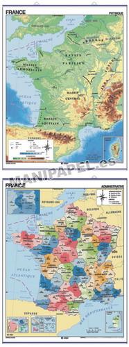 MAPAS MURALES EN FRANCÉS FÍSICO / POLÍTICO ED-693 Físico / Político France