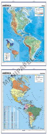 MAPAS MURALES FÍSICO / POLÍTICO ED-696 América
