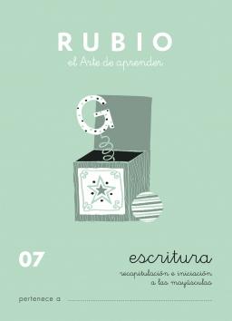 CUADERNOS RUBIO ESCRITURA DE 0 A 010 C07 4 a 5 años Recapitulación e iniciación de mayúsculas Con puntos, dibujos y grecas 84-85109-20-1 escritura07