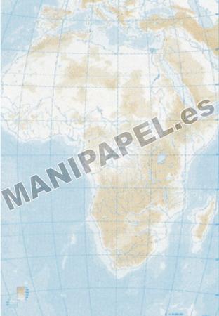 MAPA MUDO FÍSICO BLANCO Y NEGRO (100 unidades) 22167 África 100