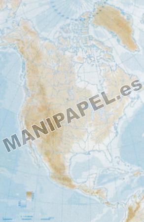 MAPA MUDO FÍSICO BLANCO Y NEGRO (100 unidades) 22168 América Norte 100