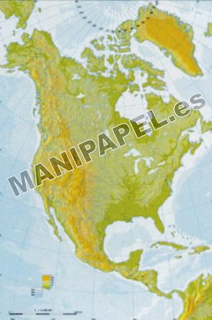 MAPA MUDO FÍSICO COLOR (100 unidades) 24593 América Norte 100
