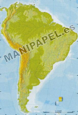 MAPA MUDO FÍSICO COLOR (100 unidades) 24594 América Sur 100